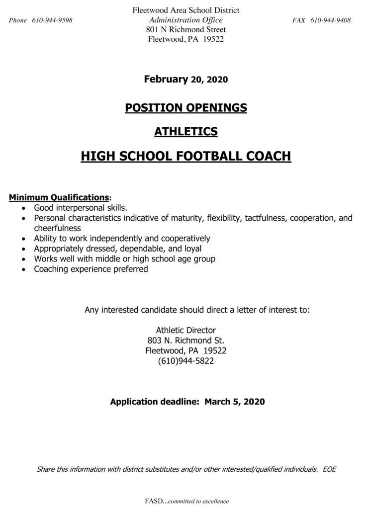 Coaching Jobs Fleetwood High School